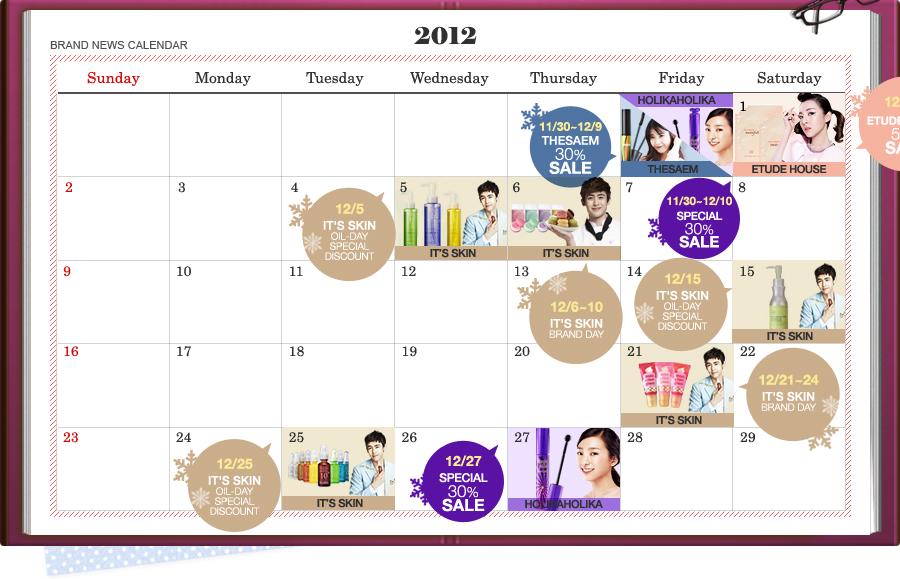 Gmarket Beauty Calendar Listopad 2012