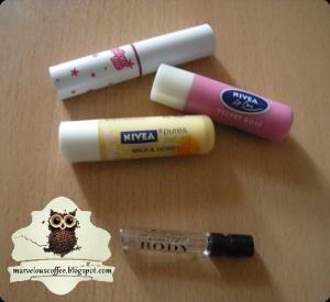Etude House Follow Me Tint #1 pink, NIVEA Lip Care Velvet Rosé, NIVEA Pure & Natural Milk & Honey