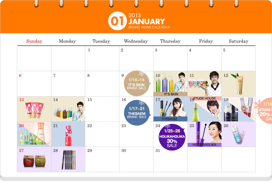 Gmarket Beauty Calendar Styczeń 2013