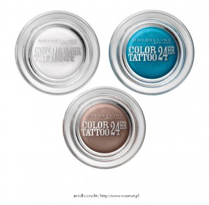 Maybelline Color Tattoo 24HR - Infinite White, Turquoise Forever i On and On Bronze