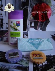 Alverde szampon do włosów zniszczonych, pasta cukrowa Royal Alepp, woski Yankee Candle