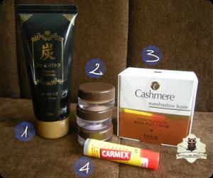 DAISO Blackheads Remover Charcoal Peel Off Mask, DAISO Crystal Cream Eyecolor, klasyczny CARMEX, Dax Cosmetics Utrwalająca baza pod cienie