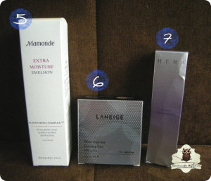MAMONDE Extra Moisture Emulsion, LANEIGE Water Supreme Finishing Pact, HERA Creamy Cleansing Foam