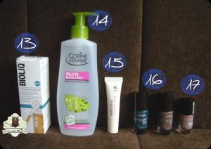 BIOLIQ Intensywne serum rewitalizujące, Corine de Farme Płyn micelarny, Innisfree 1 Minute Lip Scrub, Bell Ladycode Quick-Dry Nail Enemal o numerach 12 i 24