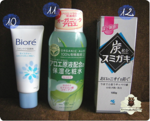 Biore Facial Cleansing Foam, JUJU Moisturizing Aloe Toner, SUMIGAKI Charcoal Powder Power Toothpaste