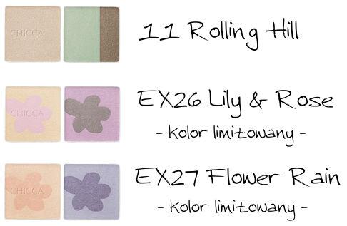 CHICCA Mystic Powder Eye Shadow 11 Rolling Hill, EX26 Lily & Rose, EX27 Flower Rain