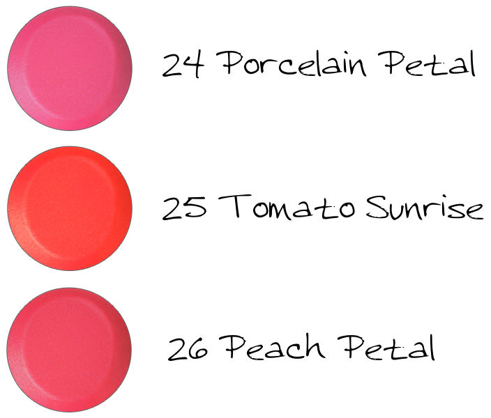 CHICCA Mesmeric Lipstic 24 Porcelain Petal, 25 Tomato Sunrise, 26 Peach Petal