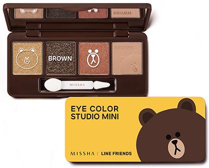 MISSHA Line Friends Edition Eye Color Mini Studio no.2 Brownie Brown