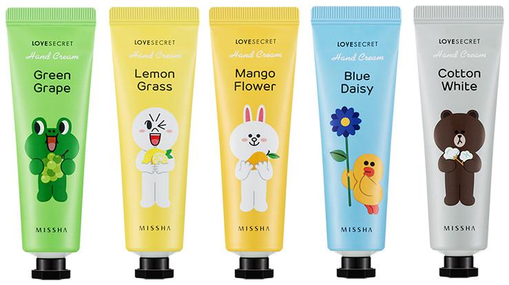 MISSHA Line Friends Edition Love Secret Hand Cream green Grape, Lemon Grass, Mango Flower, Blue Daisy, Cotton White