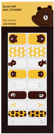 MISSHA Line Friends Edition Glam Art Nail Sticker no.1 Brown