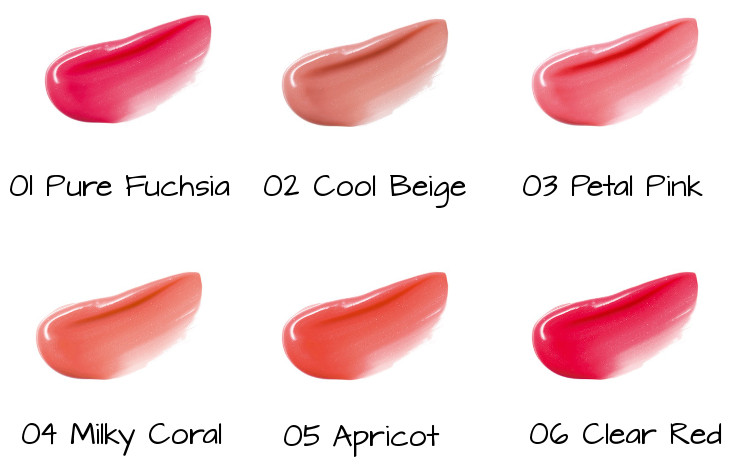 LUNASOL Sheer Light Gloss 01 Pure Fuchsia, 02 Cool Beige, 03 Petal Pink, 04 Milky Coral, 05 Apricot, 06 Clear Red
