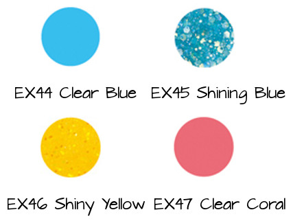 LUNASOL Nail Finish N EX44 Clear Blue, EX45 Shining Blue, EX46 Shiny Yellow, EX47 Clear Coral