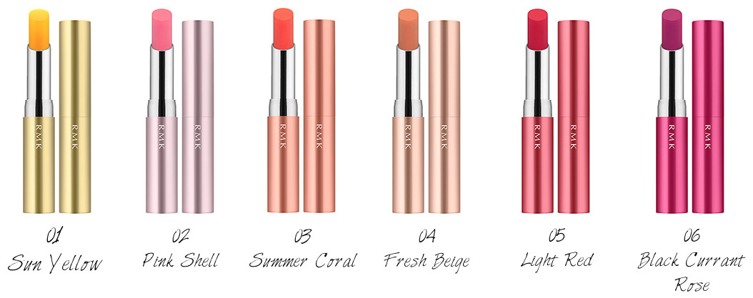 RMK Lip Care Color UV Stick 01 Sun Yellow, 02 Pink Shell, 03 Summer Coral, 04 Fresh Beige, 05 Light Red, 06 Black Currant Rose