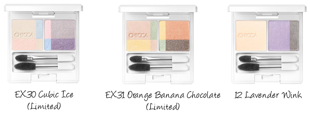 CHICCA 2016 Autumn Collection GLAM POP Mystic Powder Eye Shadow EX30 Cubic Ice, EX31 Orange Banana Chocolate, 12 Lavender Wink