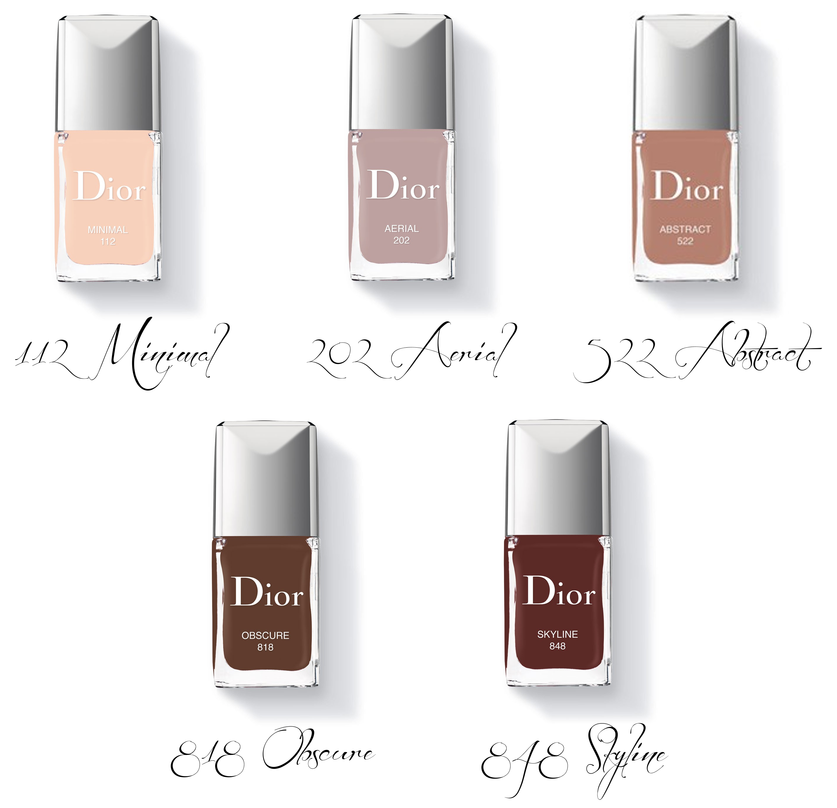 Dior kolekcja Autumn/Fall 2016 Skyline Vernis 112 Minimal, 202 Aerial, 522 Abstract, 818 Obscure, 848 Skyline