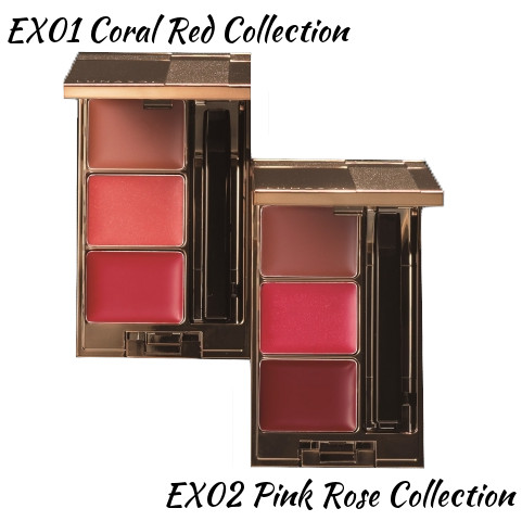 LUNASOL 2016 Winter Makeup Collection A Touch of Sold Gold Coloring Lip Compact EX01 Coral Red Collection, EX02 Pink Rose Collection