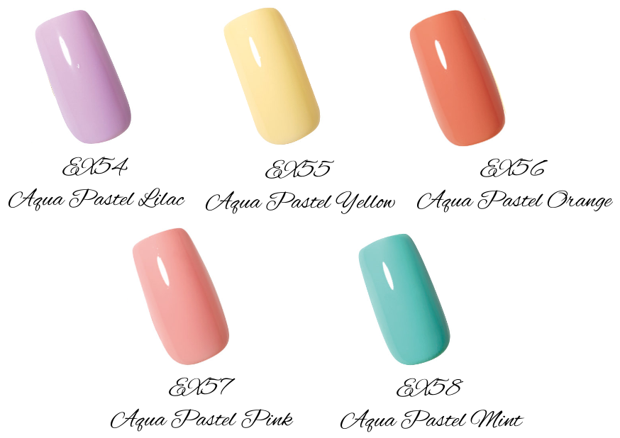 LUNASOL 2017 Spring Makeup Collection Nail Finish N EX54 Aqua Pastel Lilac, EX55 Aqua Pastel Yellow, EX56 Aqua Pastel Orange, EX57 Aqua Pastel Pink, EX58 Aqua Pastel Mint