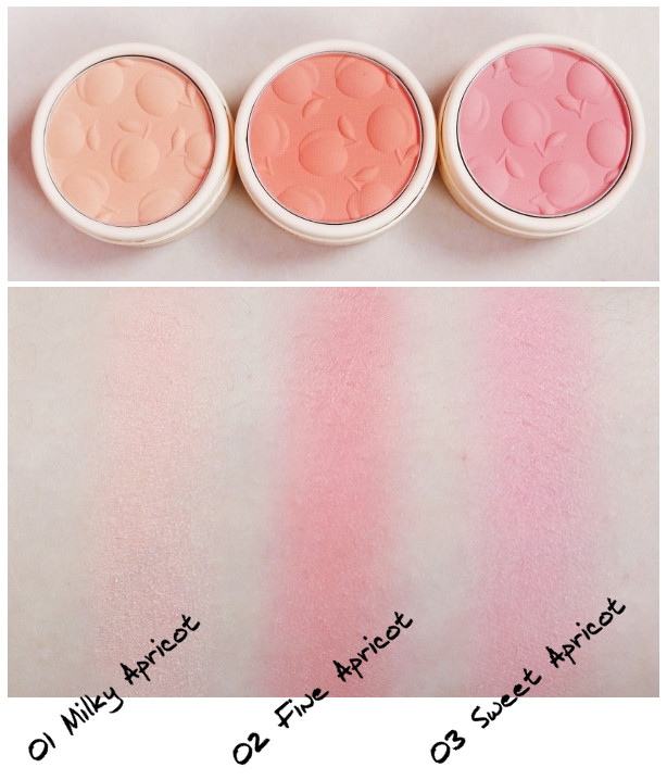 Skinfood Apricot Delight Makeup Line Apricot Delight Cotton Blusher 01 Milky Apricot, 02 Fine Apricot, 03 Sweet Apricot