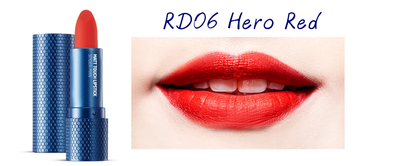 The Face Shop Marvel Edition Matt Touch Lipstick RD06 Hero Red