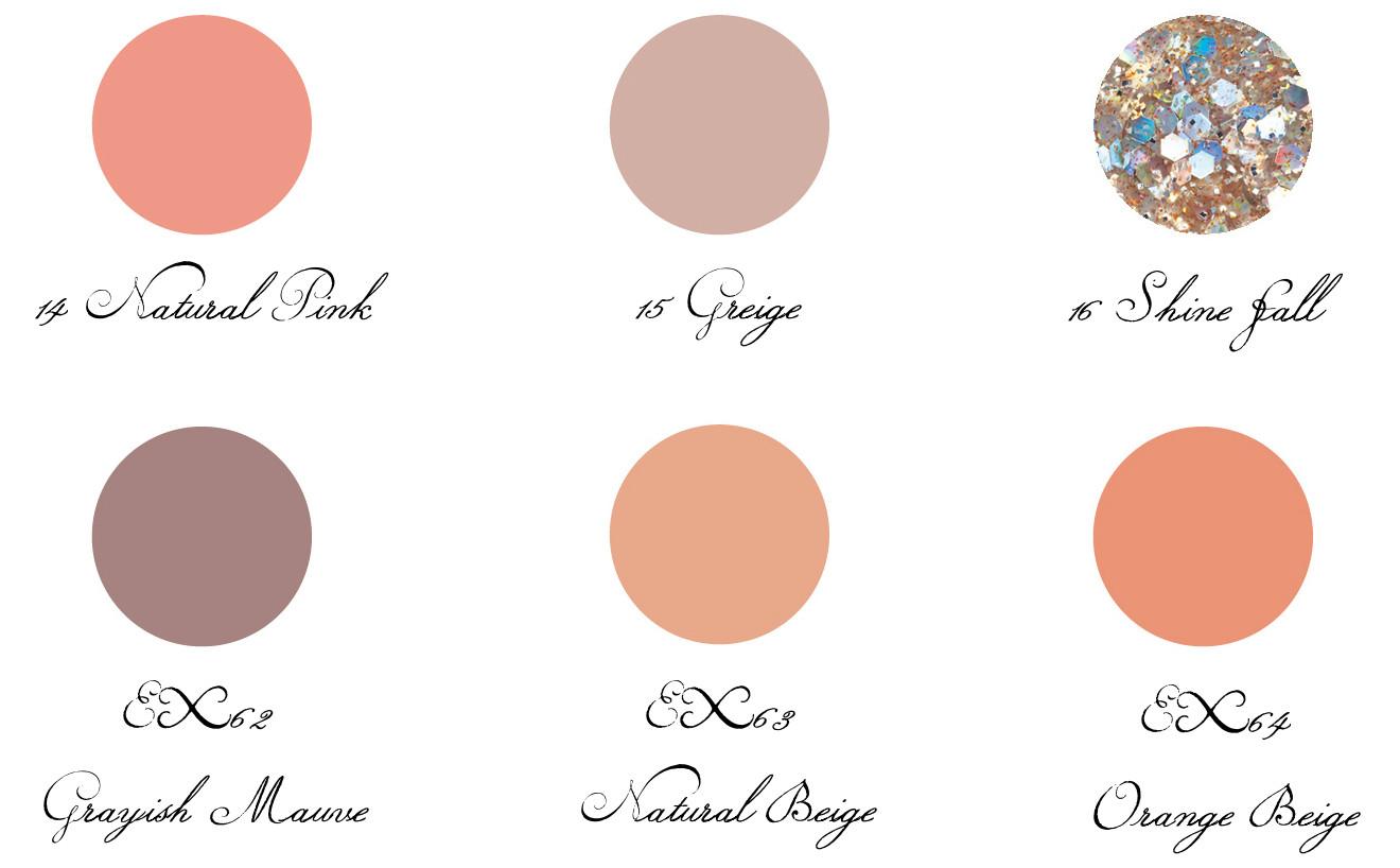 LUNASOL 2017 Autumn Makeup Collection Nail Finish N 14 Natural Pink, 15 Greige, 16 Shine Fall, EX62 Grayish Mauve, EX63 Natural Beige, EX64 Orange Beige