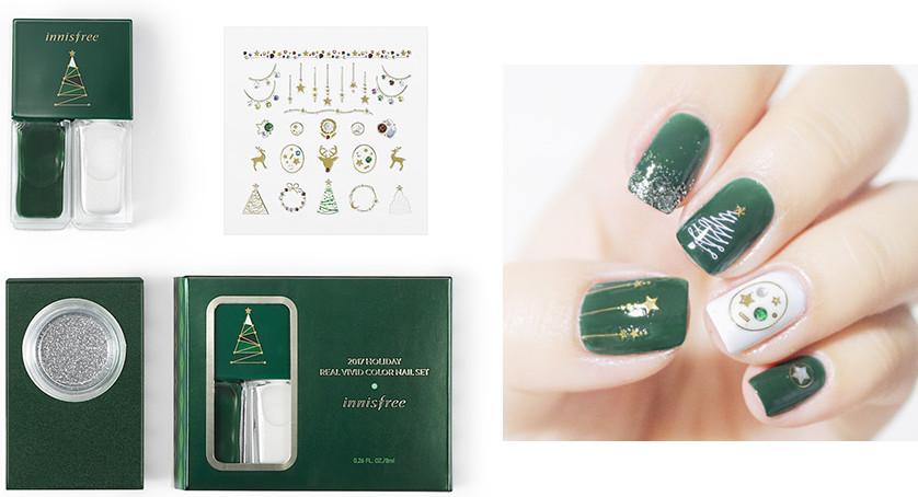 Innisfree 2017 Green Christmas Real Vivid Color Nail Set