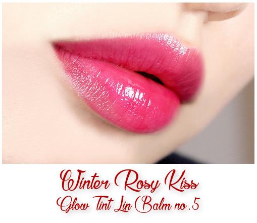 Innisfree 2017 Green Christmas Winter Kiss Lip Set Winter Rosy Kiss Glow Tint Lip Balm no.5