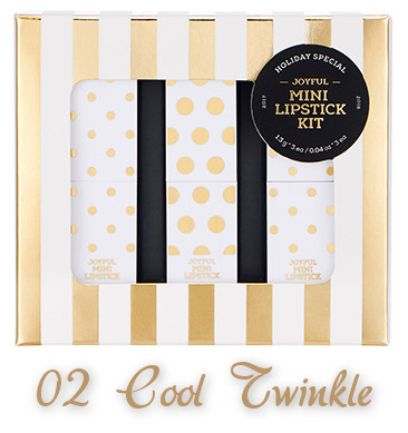 The Face Shop 2017 Holiday Edition All the wishes Joyful Mini Lipstick Kit 02 Cool Twinkle