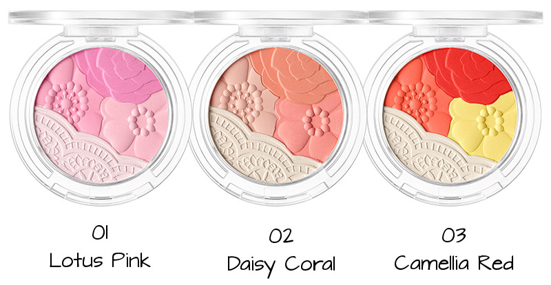 Tony Moly 2018 Spring Summer Fabric Collection Crystal Lace Blusher 01 Lotus Pink, 02 Daisy Coral, 03 Camellia Red