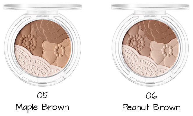 Tony Moly 2018 Spring Summer Fabric Collection Crystal Lace Blusher 05 Maple Brown, 06 Peanut Brown