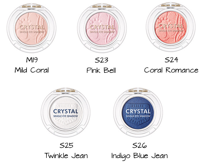 Tony Moly 2018 Spring Summer Fabric Collection Crystal Single Eye Shadow M19 Mild Coral, S23 Pink Bell, S24 Coral Romance, S25 Twinkle Jean, S26 Indigo Blue Jean